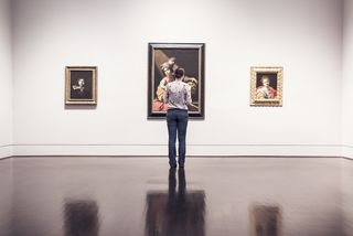 Woman Looking at Museum Art