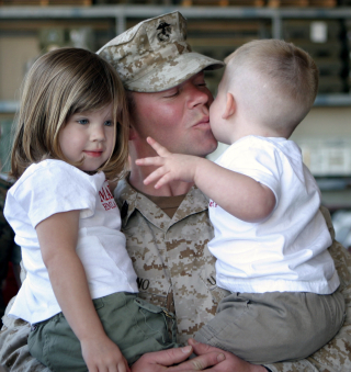Military Father with Children