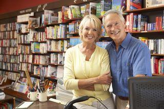 Elder Couple in Library