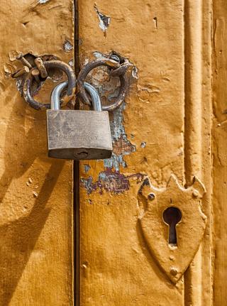 Lock on Yellow Door