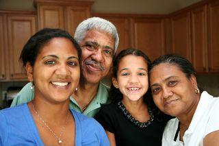 Elder Couple with Family