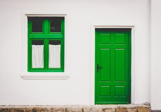 House with Green Door and Trim