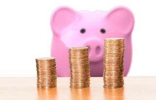 Piggy Bank Behind Coins